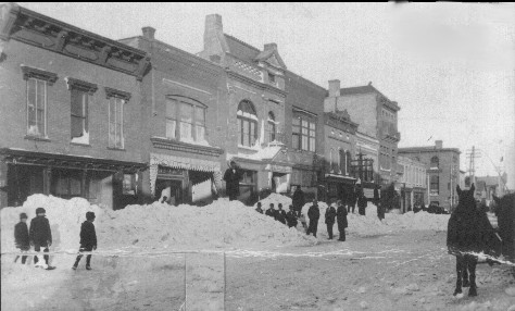 Downtown Aberdeen after a snowstorm in the early 1900s
