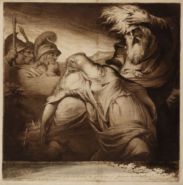 Figure 26. Archibald Macduff's etching of Barry's King Lear Mourns the Death of Cordelia (1774, 1776)