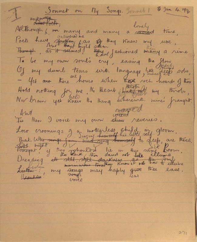 Figure 6. Manuscript of On My Songs, 4 January 1913